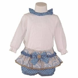 Baby Girls Blue, Beige and White Jam Pant Set