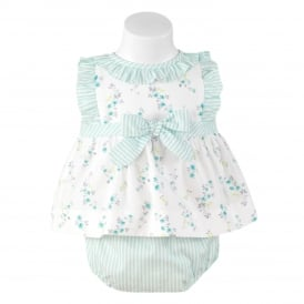 Baby Girls Pale Green Blouse and Short Set