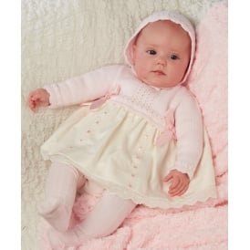 Baby Girls Pale Pink Knit Dress with Ribbon Detail
