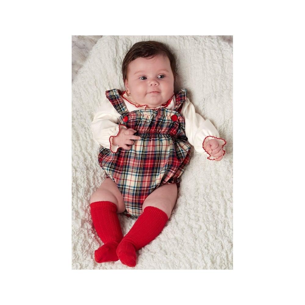 31b12105f4d2 Baby Girls Tartan Dungaree Romper and Blouse
