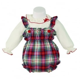 Baby Girls Tartan Dungaree Romper and Blouse
