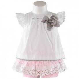 Baby Girls White Blouse and Short Set