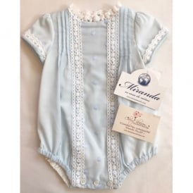 Baby Pale Blue Lace Romper