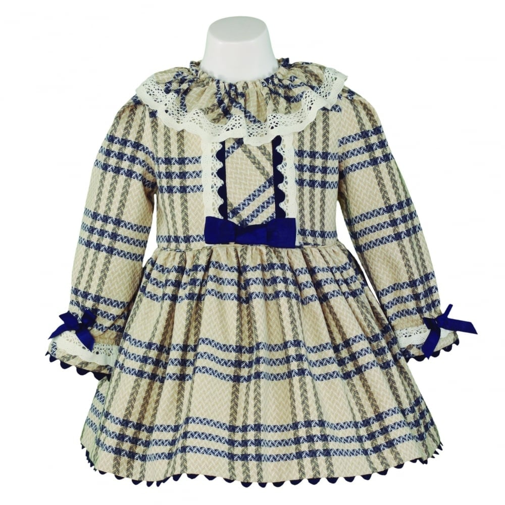 bbc363a4cb56 Miranda-Girls-Beige-and-Navy-Tartan-Dress-AW17
