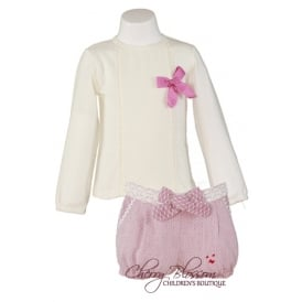 Girls Ivory T-shirt and Pink Shorts Set