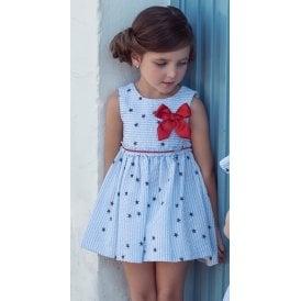 7ede50e64da Girls Pale Blue Seersucker Dress with Red Bow