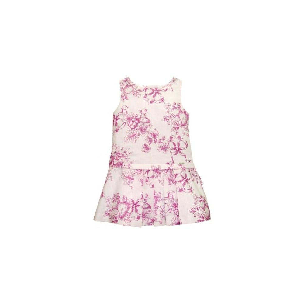 Miranda Girls Pink And White Floral Print Dress