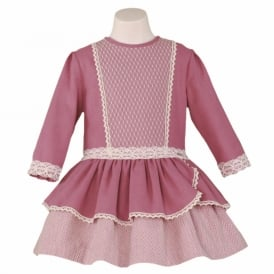 Girls Pink with Lace Detail Dress