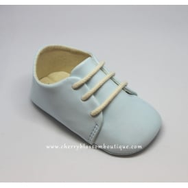 Baby Soft Lace-Up Booties in Pale Blue