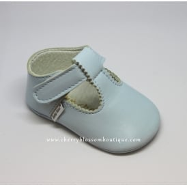 Baby Soft Leather T Bar Shoes in Pale Blue
