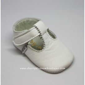 Baby Soft Leather T Bar Shoes in White