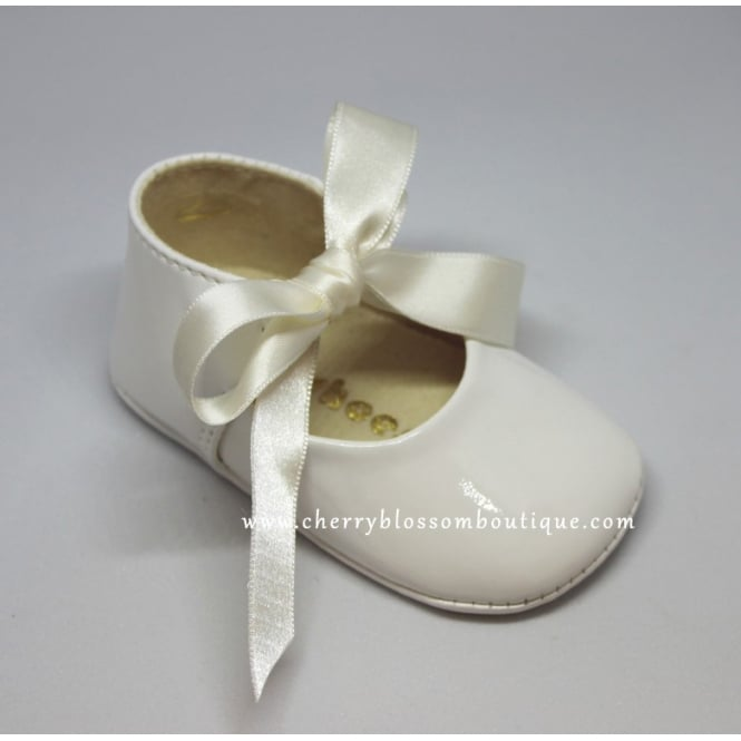 My First Baby Shoes Baby Soft Patent Ribbon Pram Shoe in White