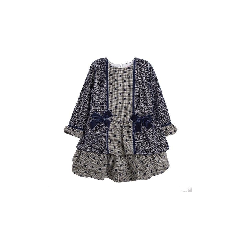 4059873052dd Newness-Girls-Navy-Polka-Dot-Dress