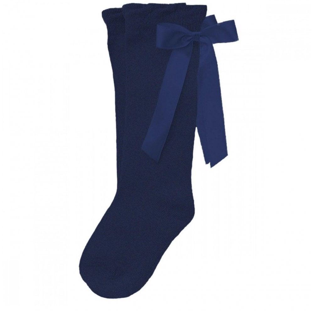 7304768e32d Navy Satin Ribbon Knee High Socks