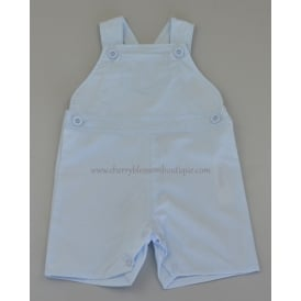Baby Cotton Short Dungarees in Pale Blue
