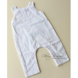 Baby Fine Cord Dungarees in White