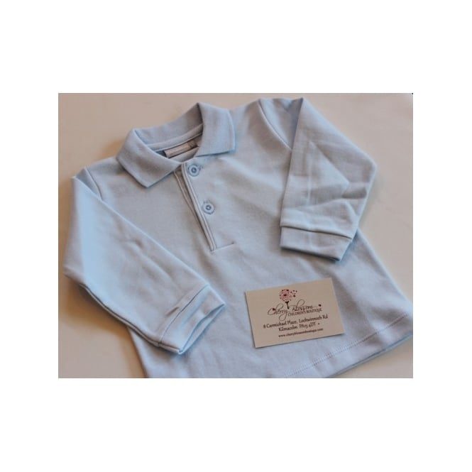 Piruleta Baby Baby Long Sleeved Polo in Pale Blue