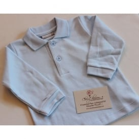Baby Long Sleeved Polo in Pale Blue