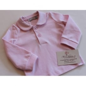 Baby Long Sleeved Polo in Pale Pink