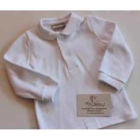 Baby Long Sleeved Polo in White