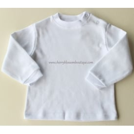 Baby Round Neck Long Sleeved Top in White