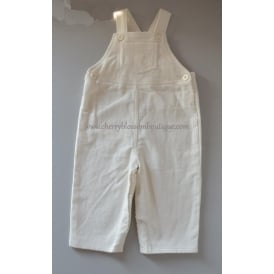 Baby Soft Cord Dungaree in White