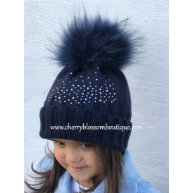 Hats & Bits Diamante Pom Pom Hat in Navy, Pink or Ivory