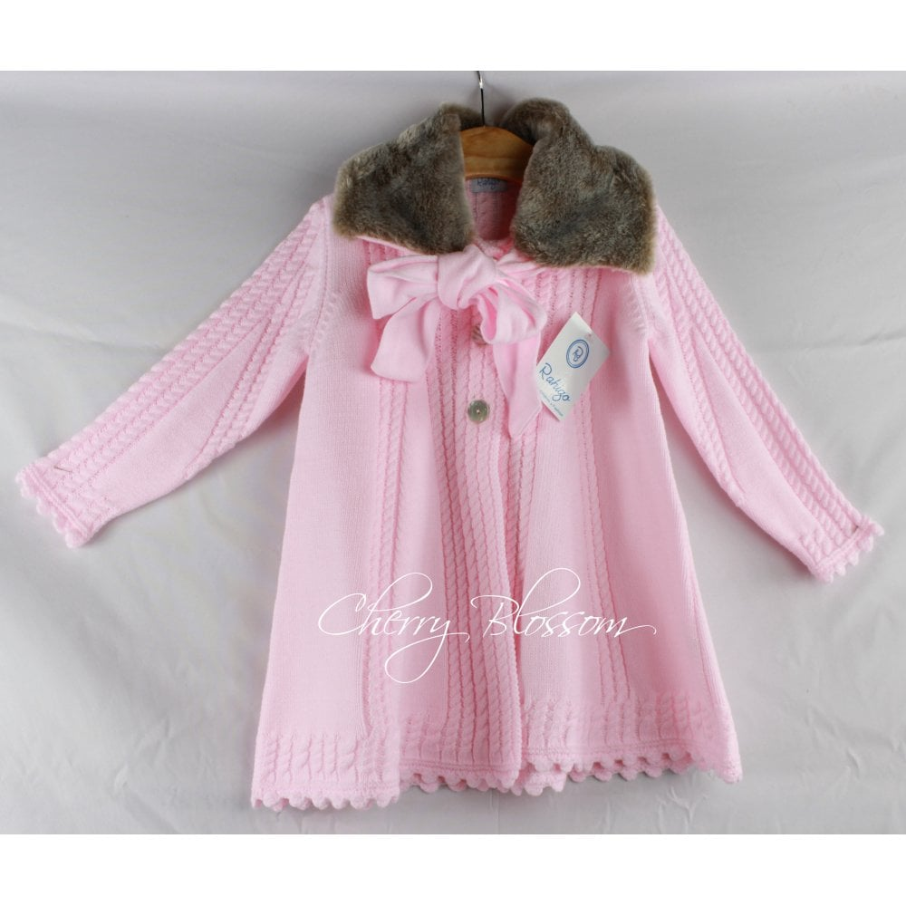 Rahigo Baby Girl Pale Pink Knitted Coat With Detachable