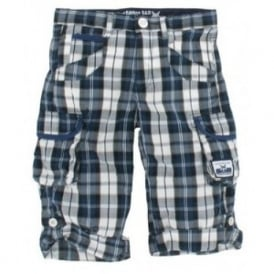 Boys Navy and White Check Shorts