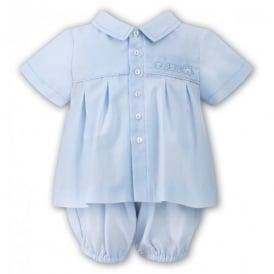 Boys Bib Romper and Shirt Set in Pale Blue