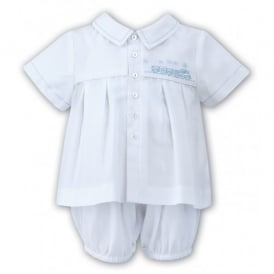Boys Bib Romper and Shirt Set in White