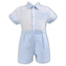 Boys Blue and White Short Set 011162