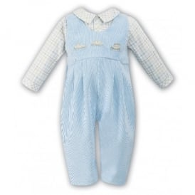 Boys Blue Cord Dungaree Romper