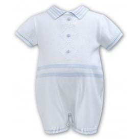 Boys Knit White Shortie Romper