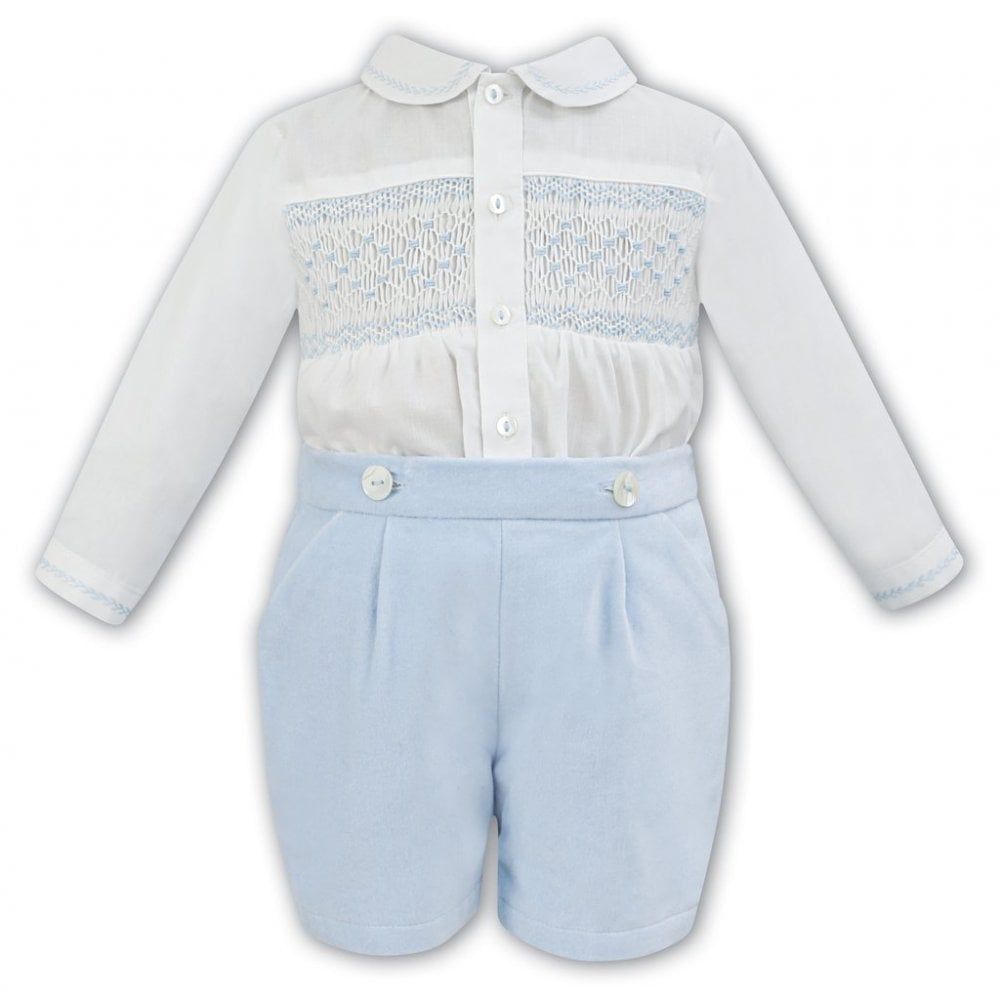 e33a7658dccd Sarah-Louise-Boys-Smocked-Shirt-and-Shorts-Outfit-011253