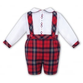 Boys Tartan Dungaree and Shirt