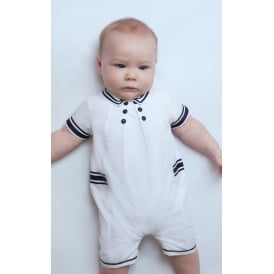 Boys White and Navy Sailor Romper and Hat