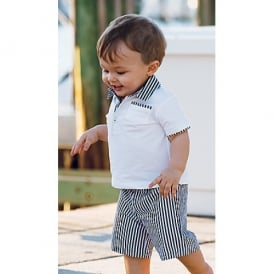 Boys White and Navy Stripe Shorts and Polo Set