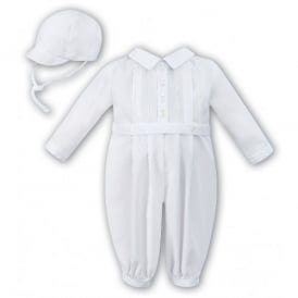 Boys White Romper and Cap