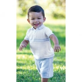 Dani Boys Knit White Polo and Pale Blue Short