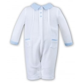 Dani Boys White with Blue Collar Romper