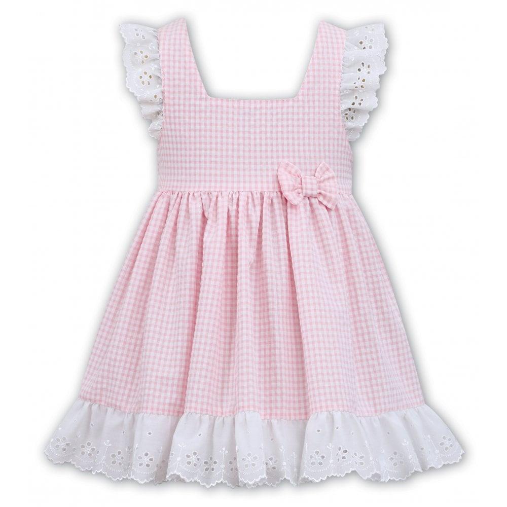 8e1265187 Sarah-Louise-Dani-Girls-Pale-Pink-and-White-Gingham-Dress