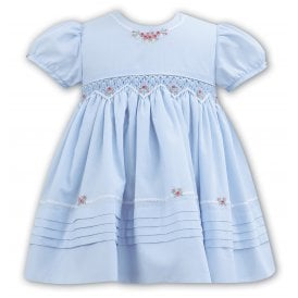 Girls Blue Smocked Embroidered Dress 011092
