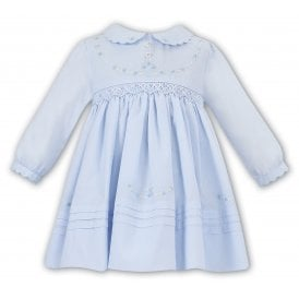 8be2ee15b0ff1 Girls Blue Smocked Long Sleeve Dress 011645