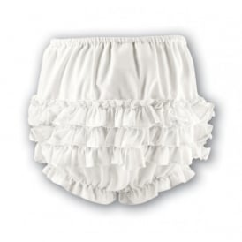 Girls Frilly Pants - Ivory