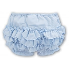 Girls Frilly Pants - Pale Blue