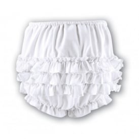 Girls Frilly Pants - White