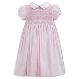 Girls Hand Smocked Daisy Dress in Pink 011107