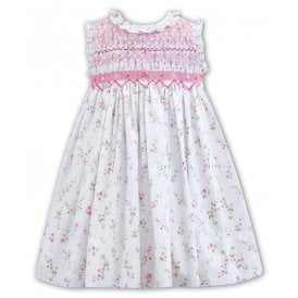 Girls Hand Smocked Floral Print Dress 011145