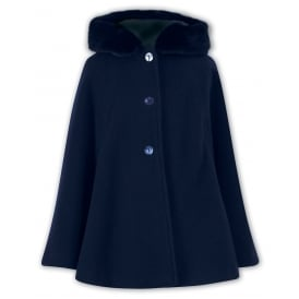 Girls Navy Cashmere Blend Cape, 011036